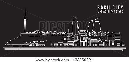 Cityscape Building Line art Vector Illustration design - Baku City