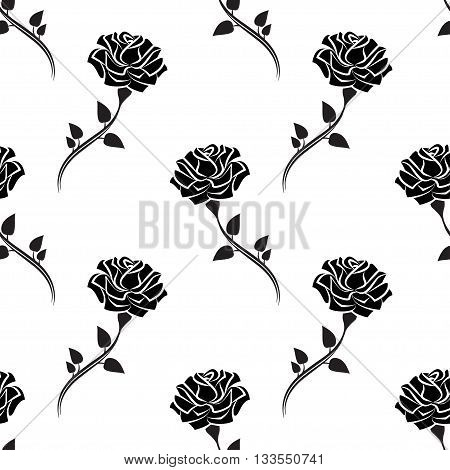 Seamless pattern of black rose with leaves. Pattern of silhouette rose. Vector illustration