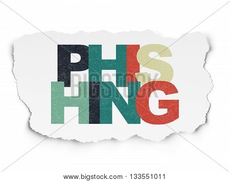 Privacy concept: Painted multicolor text Phishing on Torn Paper background