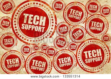 tech support, red stamp on a grunge paper texture