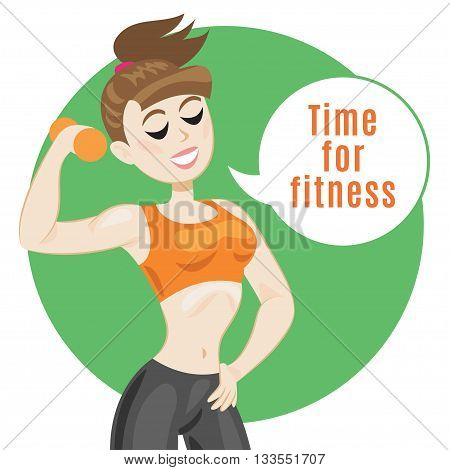 Sporty young woman in sportswear. Fit girl with dumbbells. Smiling cartoon girl says let's do fitness. Sport concept vector illustration