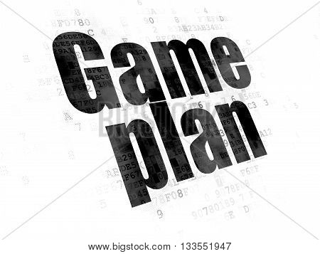 Business concept: Pixelated black text Game Plan on Digital background