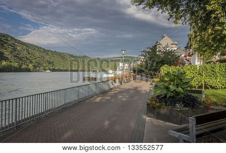BOPPARD GERMANY 7 AUGUST 2014 - View of the riverfront and river Rhine at Boppard Germany
