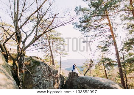 Newlywed couple posing on majestic rocky boulders, young wife leaning to her loving new husband. Hills landscape as backround.