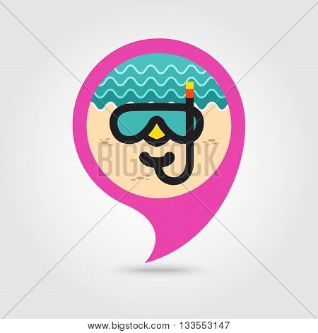 Diving Mask vector pin map icon. Beach Map pointer. Summer Map markers. Holiday. Summertime. Vacation eps 10