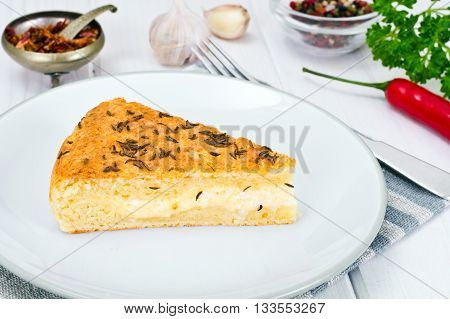 Georgian National Dish Pie with Cheese and Caraway Khachapuri Studio Photo