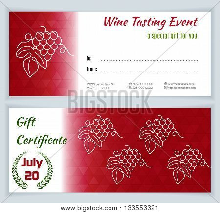 Wine tasting event Gift Certificate with grapes isolated on a white background. Flat and line style design. Green and red vector illustration.