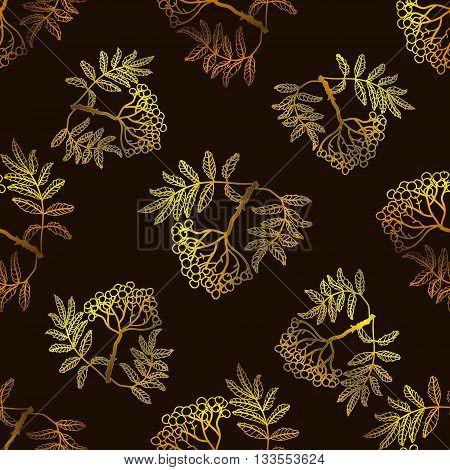 Rowan seamless vector pattern. Chocolate seamless vector pattern with rowan.