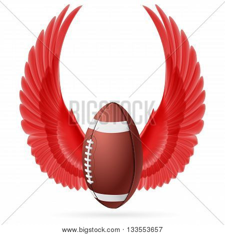 Realistic ball for American football with raised up red wings emblem