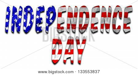 Independence Day words with a beveled American flag texture on an isolated white background with a clipping path with and without the shadow