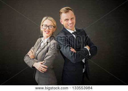 Portrait of succesful  business man and woman