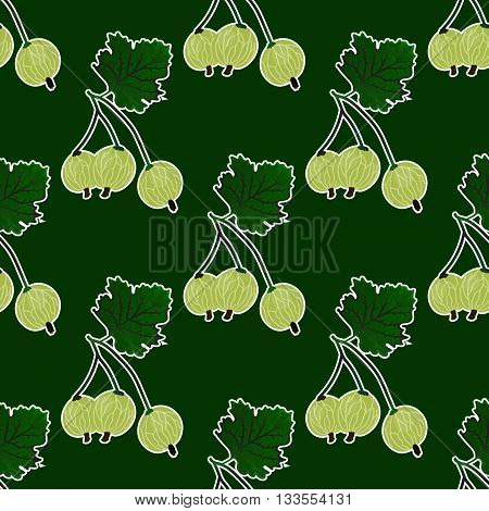 Vector gooseberry seamless pattern. Vector gooseberry green background.