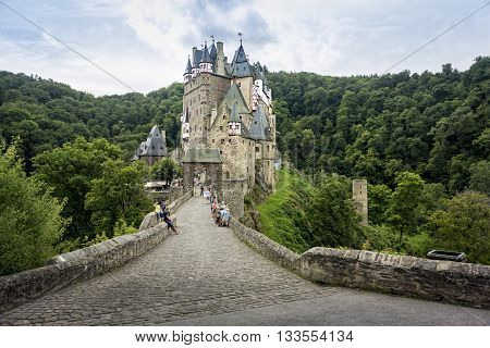 ELTZ CASTLE, MUNSTERMAIFEILD, GERMANY, 10 AUGUST 2014 - Eltz Castle is a medieval castle nestled in the hills above the Moselle River between Koblenz and Trier Germany