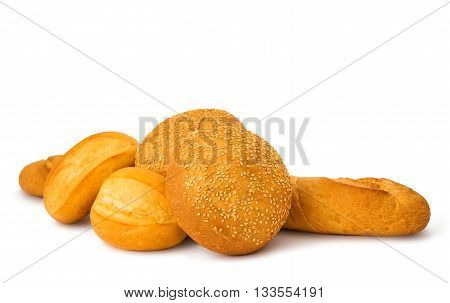bakery italian, products isolated on white background