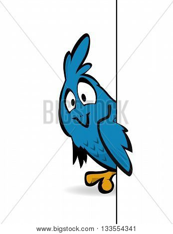 A cute cartoon blue bird peeking from behind a wall