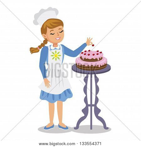 Girl decorates a cake with cherries. Cute cartoon girl with cake. Vector illustration