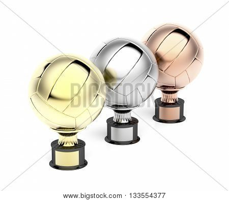 Gold silver and bronze volleyball trophies on white background, 3D illustration