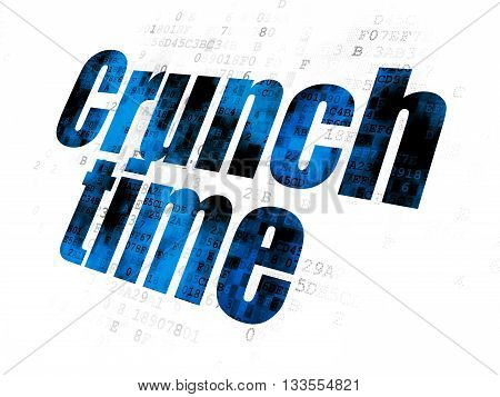Business concept: Pixelated blue text Crunch Time on Digital background