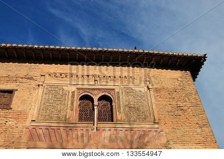 Façade of palace of Alhambra , Grenada , Spain