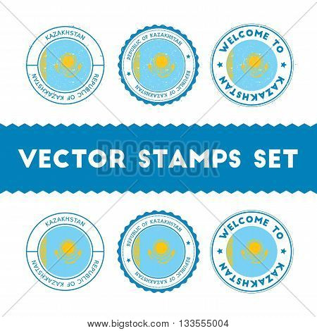 Kazakhstani Flag Rubber Stamps Set. National Flags Grunge Stamps. Country Round Badges Collection.