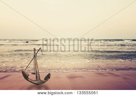 anchor on sand with seain vintage style