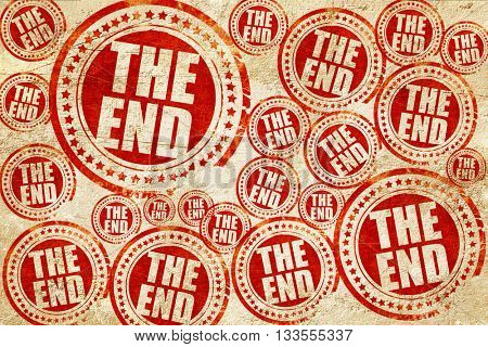 the end, red stamp on a grunge paper texture