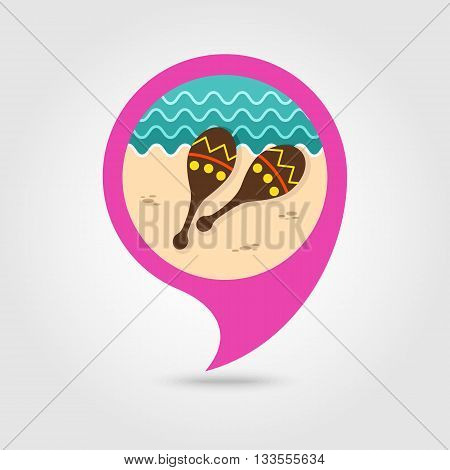 Maracas vector pin map icon. Beach Map pointer. Summer Map markers. Holiday. Summertime. Vacation eps 10