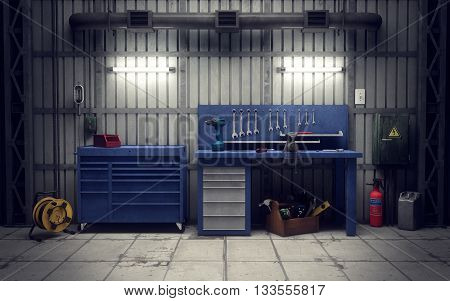 Garage workshop with tools & equipment, 3d rendering