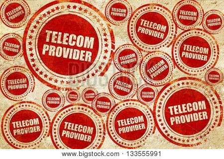 telecom provider, red stamp on a grunge paper texture