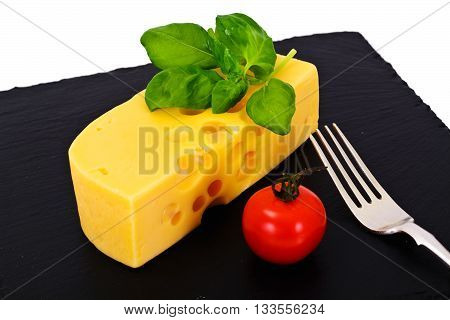 Swiss Cheese on Black Background Studio Photo