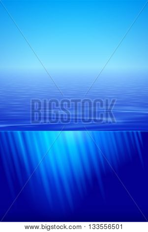 Sunshine over calm water surface in blue split view