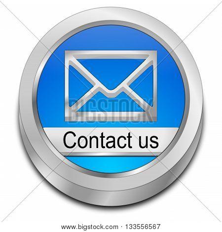 blue Button contact us - 3d illustration