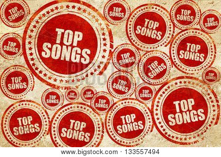top songs, red stamp on a grunge paper texture