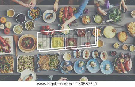Food And Beverage Table Frame Graphic Concept