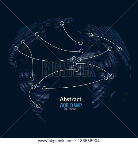 3d abstract world map planet, dots, global halftone map concept on dark. Globe infographics.