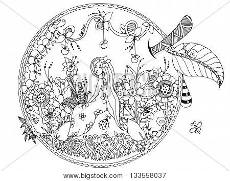 Vector illustration Zen Tangle, girl sitting in an apple. Doodle flowers. Coloring book anti stress for adults. Black and white.