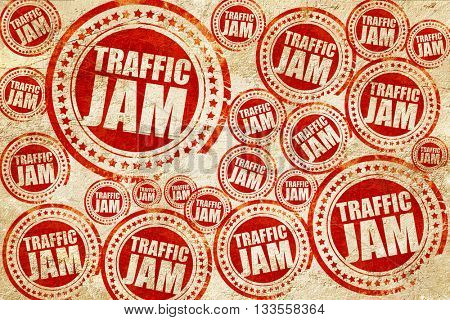 traffic jam, red stamp on a grunge paper texture