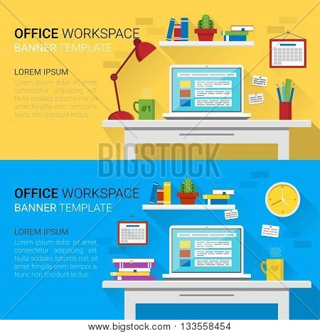 Flat design vector horizontal banners of modern office interior. Creative cartoon workspace with computer notes folders books plants mug lamp clock. Minimalistic style and color