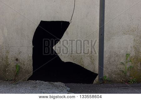 cracks and hole of an outside wall