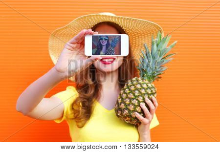 Pretty Cool Girl With Pineapple Taking Picture Self Portrait On Smartphone Over Colorful Background