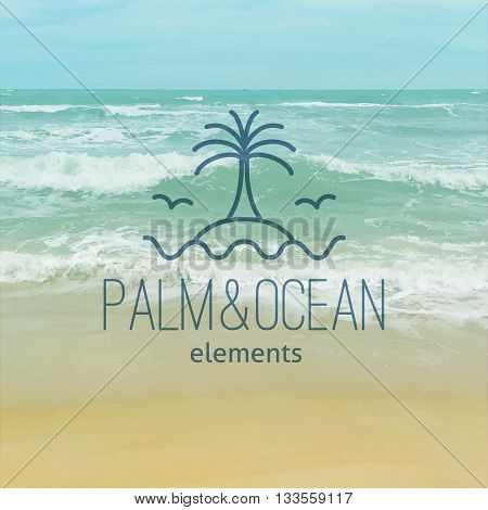 summer logo for travel agency or hotel. Palm, seagulls, island and waves on realistic seascape background
