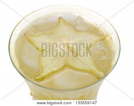 Starfruit cocktail. Close up isolated on white background