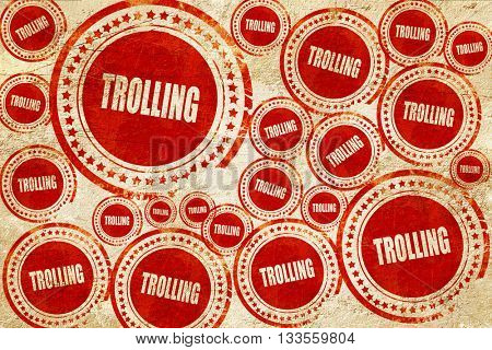 Trolling internet background, red stamp on a grunge paper textur