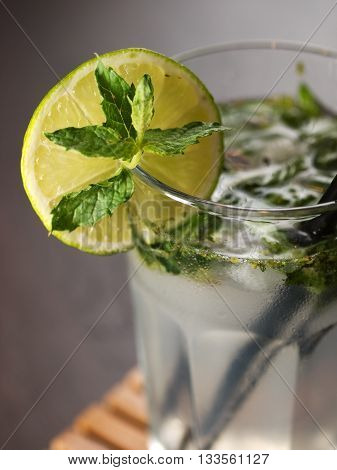 Ingredients: 3 fresh mint sprigs 2 tsp sugar 3 tbsp fresh lime juice 1 1/2 oz light rum club soda