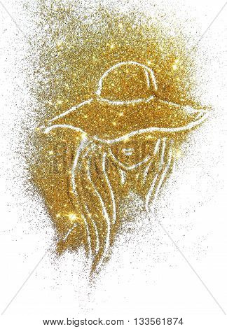 Silhouette of woman in the hat and with long hair of golden glitter on white background