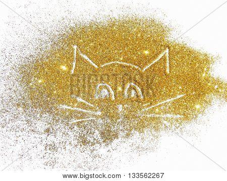 Funny cat of golden glitter on white background