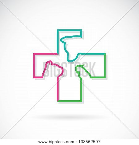 Vector image of veterinary symbol with dog cat and bird on white background