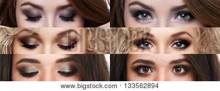 The collage closed and open eyes with different makeup. Bright makeup, cosmetics, mascara, eyeshadow. Beauty and fashion