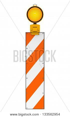 Yellow traffic warning lamp isolated on white with clipping path, 3d rendering