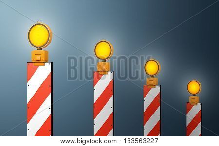 Yellow traffic warning lamps background. clipping path, 3d rendering